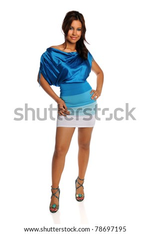 Portrait of Hispanic woman posing isolated over white background