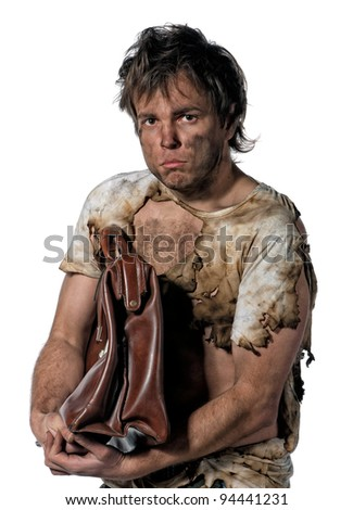 Portrait of homeless burnt man over white background - stock photo
