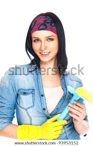 Portrait of housewife cleaner. Isolated over white background. Housekeeping service concept - stock photo