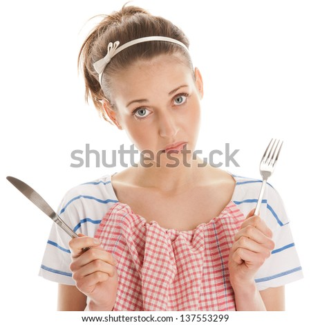 Portrait of hungry woman - stock photo