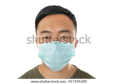Portrait of ill man in mask isolated on white - stock photo