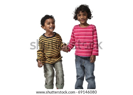 portrait of indian children on a white background - stock photo