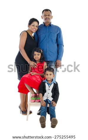 Portrait of indian family - stock photo