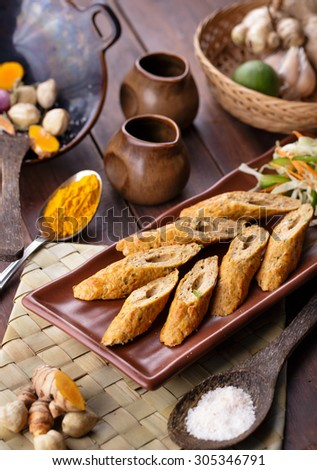 portrait of indian seekh kebab chicken with ingredients - stock photo