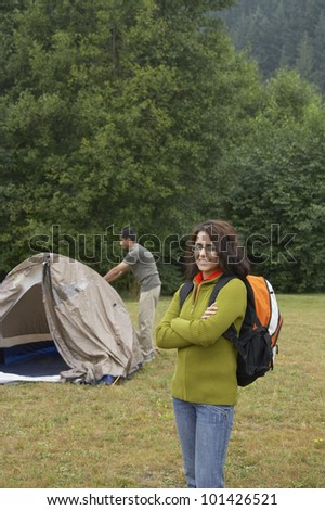 Portrait of Indian woman at campsite - stock photo