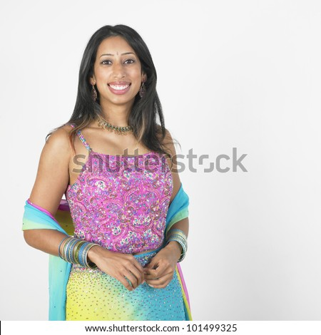 Portrait of Indian woman wearing bright clothing