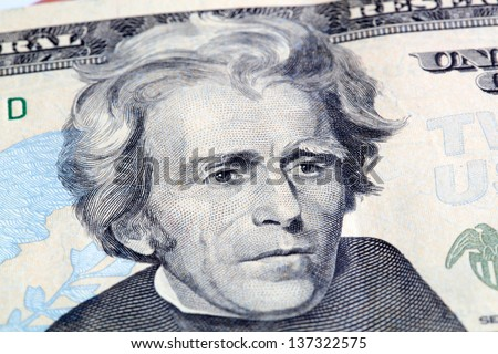 Portrait of Jackson in front of the dollar bill - stock photo