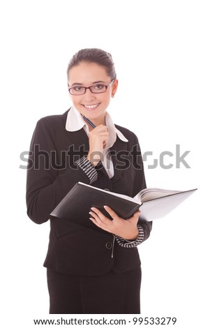 portrait of japanese business woman taking notebook - stock photo