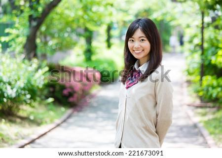 portrait of japanese high school student - stock photo