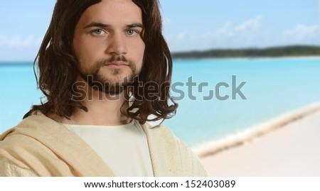 Portrait of Jesus by the ocean - stock photo