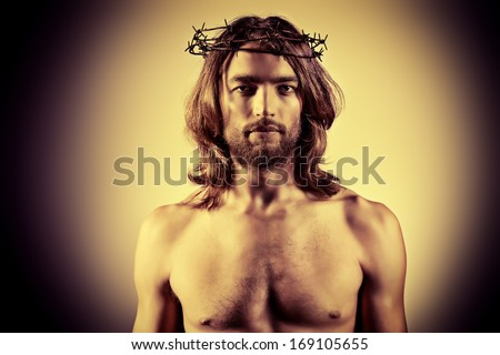 Portrait of Jesus Christ. Religion. Sepia. - stock photo