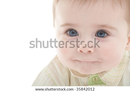 Portrait of joyful blue-eyes baby boy. Isolated on white with copyspace - stock photo