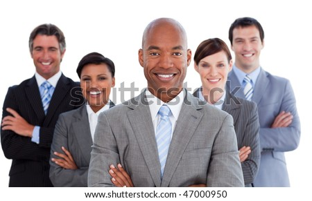 Portrait of joyful business team against a white background - stock photo