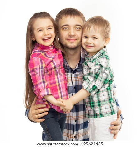 Portrait of joyful father hugging his son and daughter. Fathers day, family holiday, vacation. Isolated white background. - stock photo