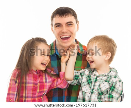 Portrait of joyful father with his son and daughter. Isolated on white background. Fathers day, family holiday, vacation