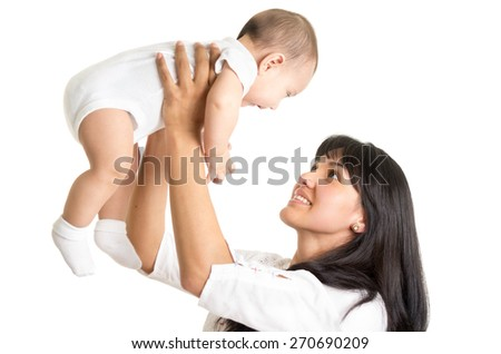 portrait of joyful new mother holding small sweet baby boy isolated on white - stock photo