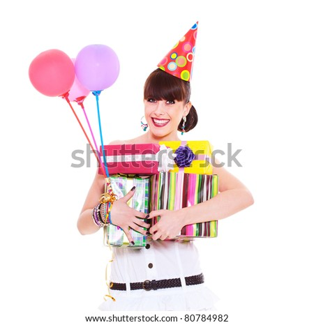 portrait of joyful woman with gifts and balloons. isolated on white background