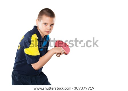 Portrait Of Kid Playing Tennis isolated on white background - stock photo
