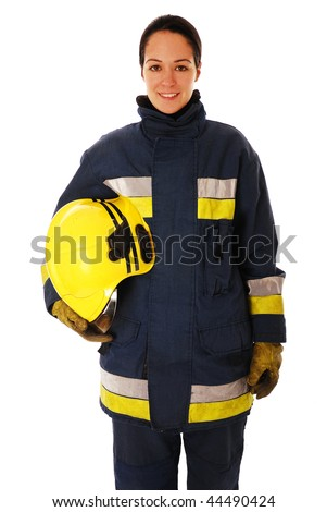 Portrait of lady firefighter isolated on white - stock photo