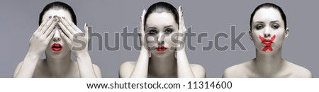 portrait of lady with expression of secret - stock photo