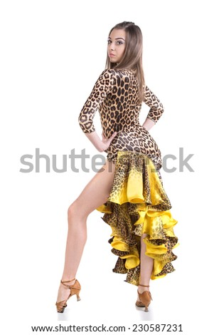 Portrait of latino dancer in action. Isolated on white. - stock photo