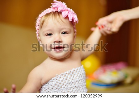 portrait of laughing baby girl - stock photo