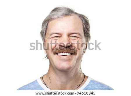 portrait of laughing cheerful mature man isolated on white background - stock photo