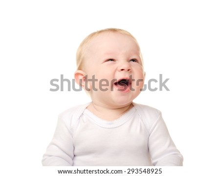 portrait of laughing funny baby boy isolated on white background - stock photo