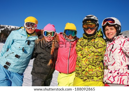 Portrait of  laughing girls in ski goggles  - stock photo
