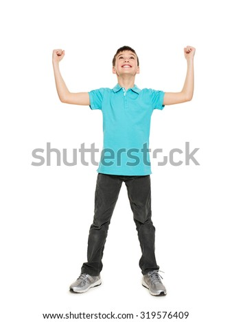 Portrait of  laughing happy teen boy  with raised hands up - isolated on white background - stock photo