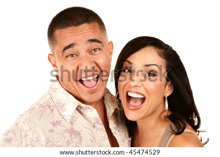 Portrait  of Laughing Hispanic Couple on White Background - stock photo