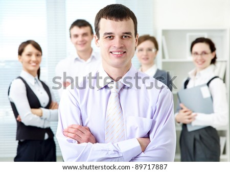 Portrait of leadership on business team background - stock photo