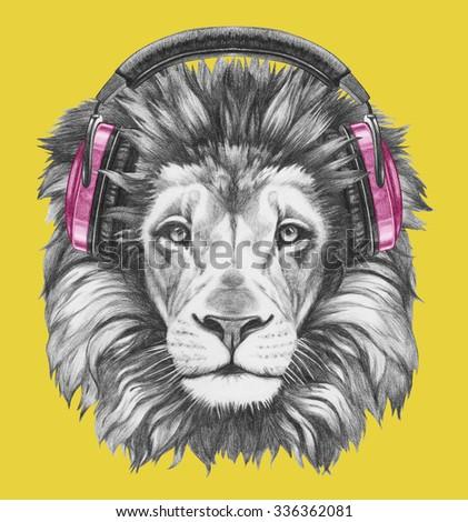 Portrait of Lion with headphones. Hand drawn illustration. - stock photo