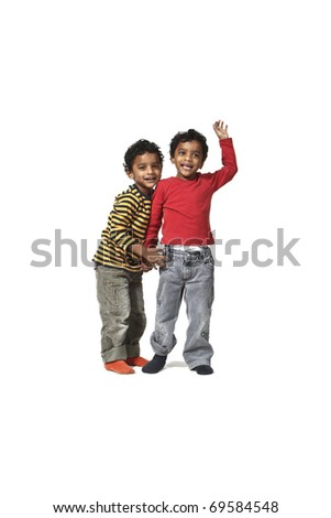 portrait of litlle Indian boy on a white background - stock photo