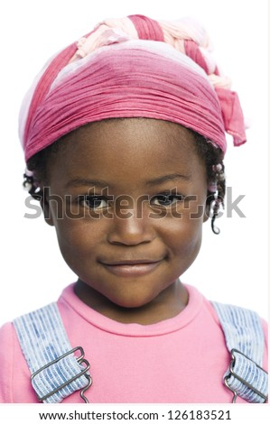 Portrait of little African American girl smiling