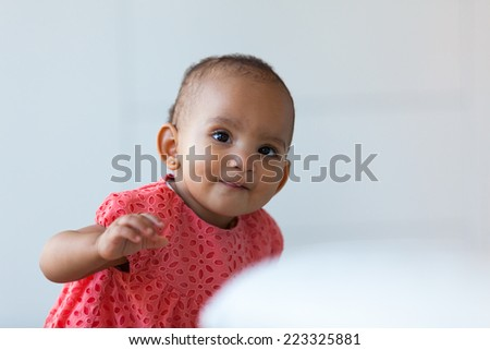 Portrait of little African American little girl smiling - Black people - stock photo