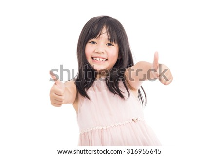 Portrait of little asian beautiful and confident girl showing thumbs up isolated on white background - stock photo