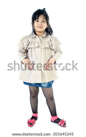 Portrait of Little asian cute Girl on white background .