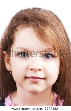Portrait of little beautiful girl isolated on white background