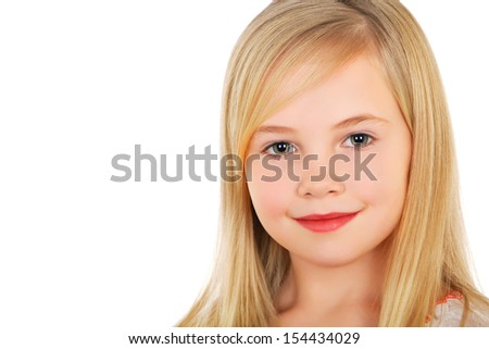 Portrait of little blond girl with charming smile. Isolated on white  - stock photo