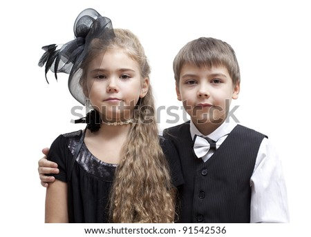 Portrait of little boy and girl, isolated on a white background - stock photo