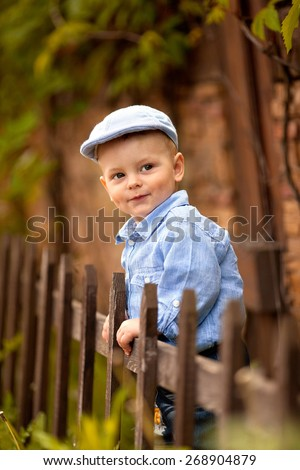 portrait of little boy in the blue shirt and  cap is standing near the wooden fence in the park - stock photo