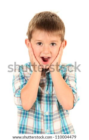 portrait of little boy isolated on white - stock photo
