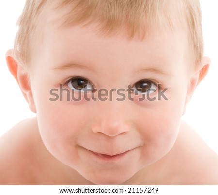 Portrait of little boy isolated on white background.