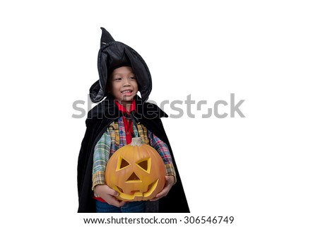 Portrait of little boy wearing halloween costume with pumpkin on white background,Cute little boy trick or treating on Halloween. Isolated on white