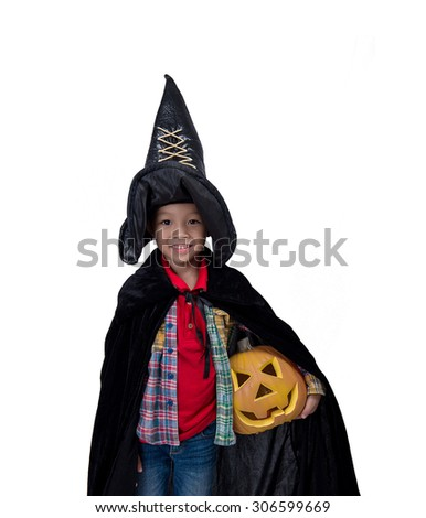 Portrait of little boy wearing halloween costume with pumpkin on white background,Cute little boy trick or treating on Halloween. Isolated on white - stock photo