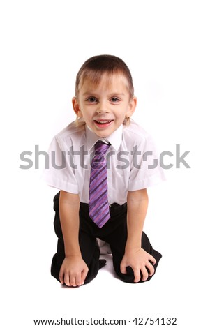 Portrait of little boy white background - stock photo