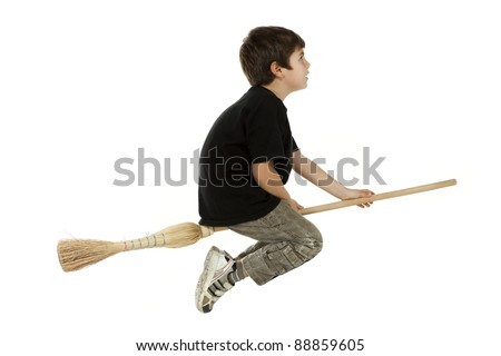 portrait of little boy with a broom, side view on white background - stock photo