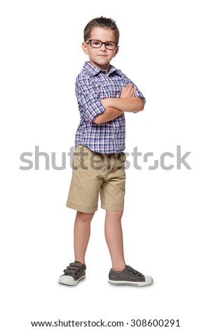 Portrait of little boy with hands folded isolated on white background.