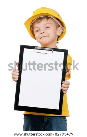 Portrait of little boy with hard hat on white background - stock photo